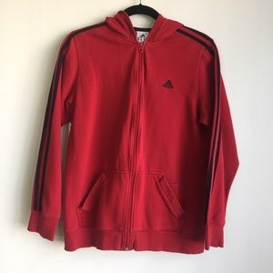 Adidas red and black 3 stripes hoodie size L
